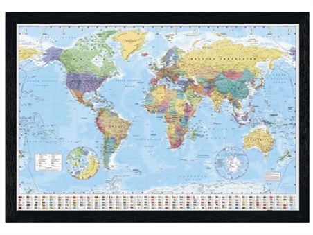 Framed Black Wooden Framed World Map with Flags - World Map