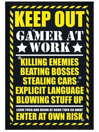 Black Wooden Framed Keep Out - Gamer at Work Framed Poster