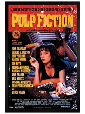 Black Wooden Framed Quentin Tarantino Classic, Pulp Fiction