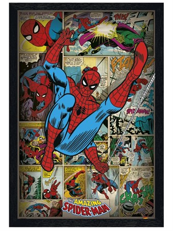Black Wooden Framed Retro Spiderman Compilation Framed Poster