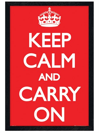 Black Wooden Framed Keep Calm - Carry On