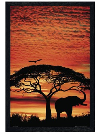 Black Wooden Framed Safari Silhouette - African Sunset