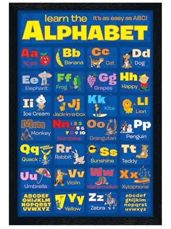 Black Wooden Framed Learn The Alphabet - It's As Easy as ABC..