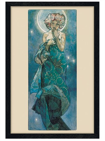 Black Wooden Framed Moon - By Alphonse Marie Mucha