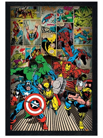 Black Wooden Framed Here Come The Heroes - Marvel Comics Superheroes