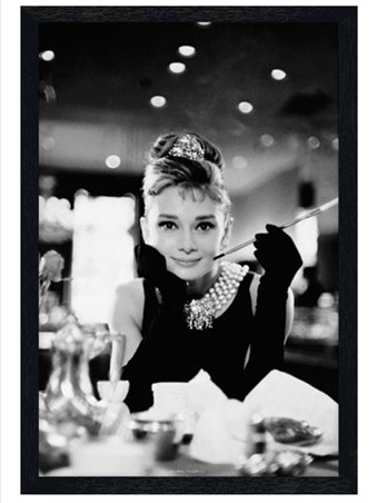 black wooden framed audrey hepburn is holly golightly breakfast at tiffany 39 s poster buy online. Black Bedroom Furniture Sets. Home Design Ideas