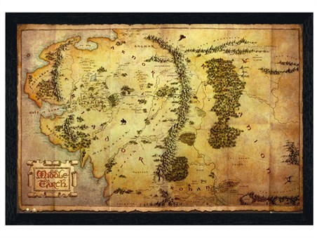 Black Wooden Framed Map of Middle Earth - The Hobbit