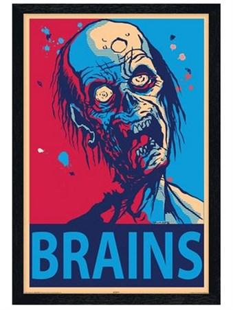 Black Wooden Framed Brains Framed Poster