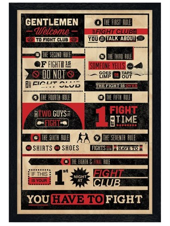Black Wooden Framed The First Rule Of Fight Club - Fight Club