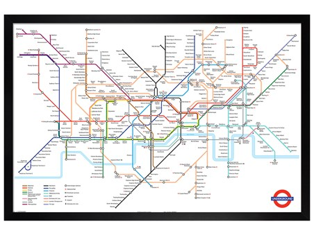 Black Wooden Framed London Underground Map - London Underground
