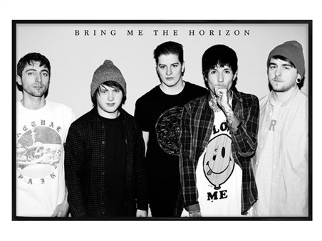 Gloss Black Framed Black and White Band Portrait - Bring Me The Horizon