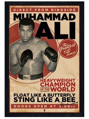 Black Wooden Framed Heavyweight Champion of the World - Muhammad Ali