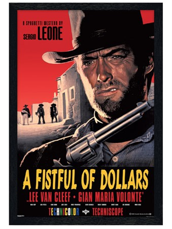 Black Wooden Framed Sergio Leone Classic - A Fistful Of Dollars