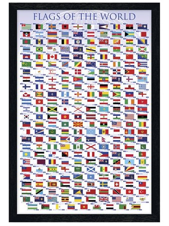 Black Wooden Framed Flags Of The World - Educational Chart