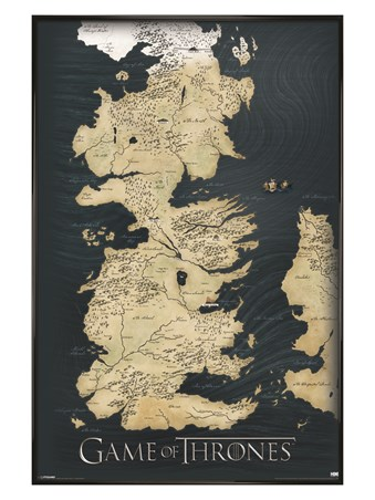 Gloss Black Framed The Seven Kingdoms of Westeros Map - Game of Thrones