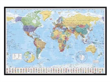Gloss Black Framed World Map With Flags, World Map