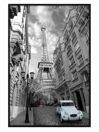 Gloss Black Framed Flashes Of Colour - Eiffel Tower, Paris