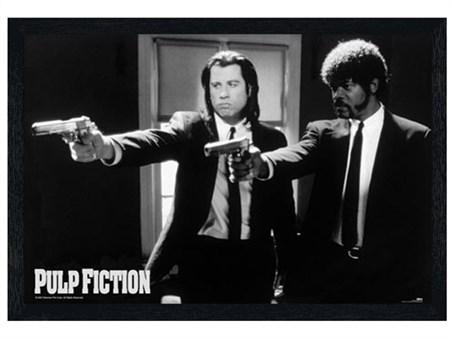 Black Wooden Framed Vincent Vega and Jules Winnfield - Pulp Fiction
