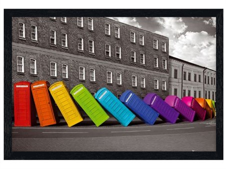 Black Wooden Framed Multicoloured Falling Phoneboxes -
