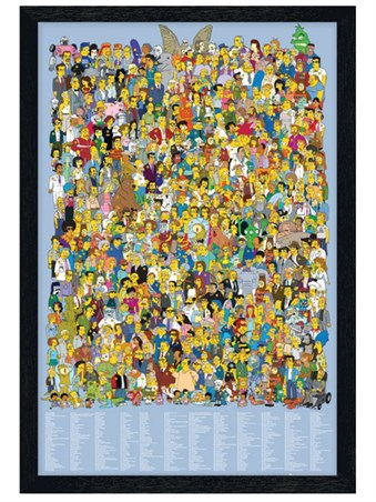 Black Wooden Framed The Simpsons Cast 2012 - Character Collage