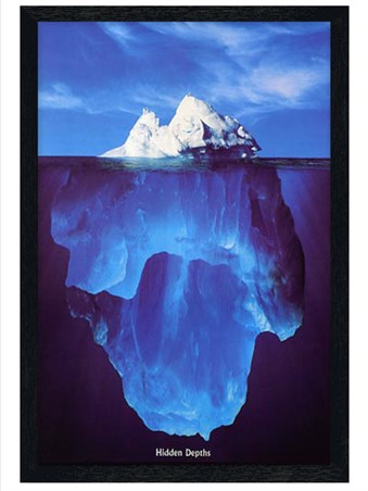 Black Wooden Framed Iceberg - Hidden Depths