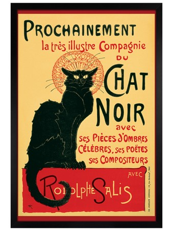 Black Wooden Framed Tournee du Chat Noir (Turn of the Black Cat) - Theophile Alexandre Steinlen