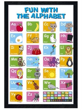 Framed Black Wooden Framed Learn the Alphabet -