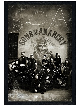 Black Wooden Framed Vintage Bikers - Sons of Anarchy