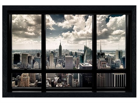 Black Wooden Framed New York View -