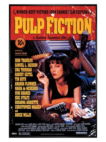 Gloss Black Framed Tarantino Classic, Pulp Fiction