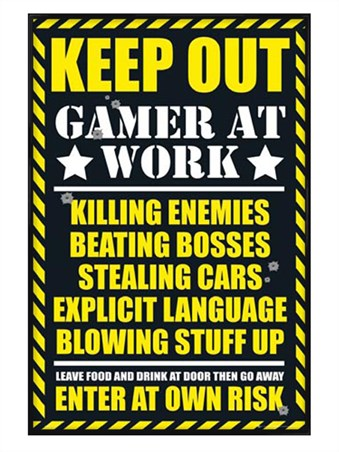 Gloss Black Framed Keep Out - Gamer at Work - Gaming Keep Out Leave Food At The Door