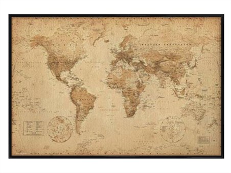Gloss Black Framed Antique Style Map - World Map