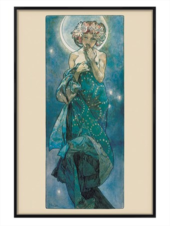 Gloss Black Framed Moon Vintage Advertising - Alphonse Marie Mucha