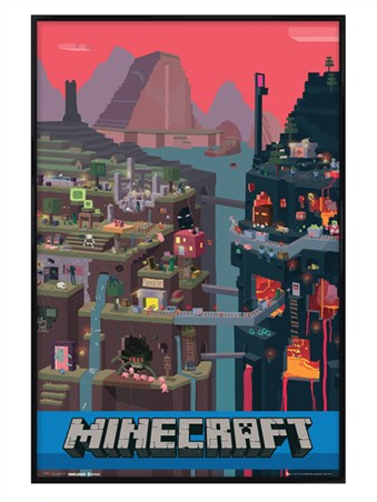 Gloss Black Framed Minecraft World - Minecraft