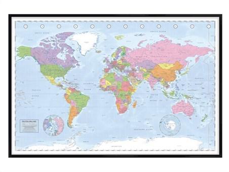 Gloss Black Framed Political World Map - Miller Projection