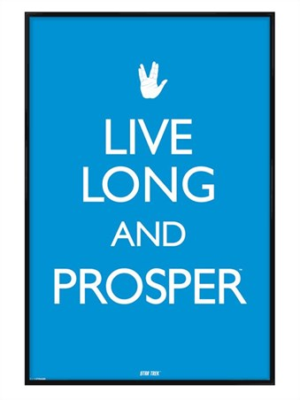 Gloss Black Framed Live Long & Prosper - Star Trek