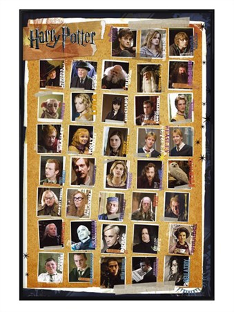 Gloss Black Framed Harry Potter Character Montage - Harry Potter