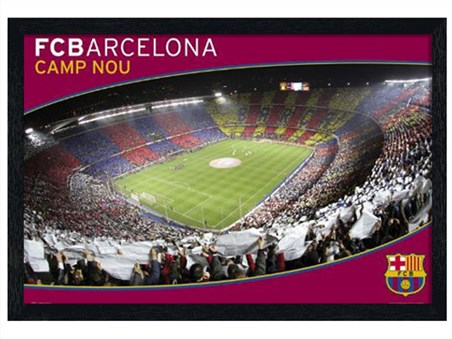Black Wooden Framed Camp Nou - FC Barcelona