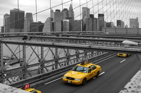 New York Skyline from The Brooklyn Bridge - Photography Mini Wall Mural