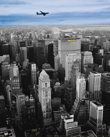 Framed Flying High above The MetLife Building - New York City