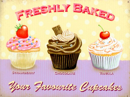 Freshly Baked, Your Favourite Cupcakes Tin Sign - Buy Online