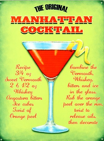 The Original Manhattan Cocktail Classic Recipe Tin Sign