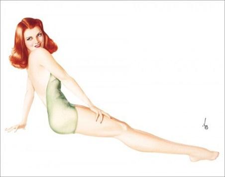 Redhead in Green Swimsuit - Varga Girls