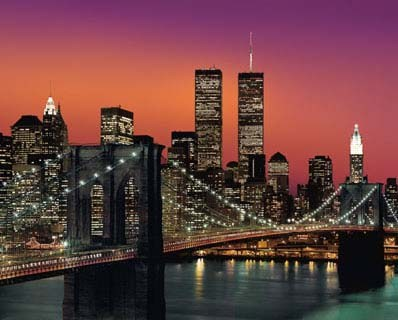 brooklyn bridge at dusk new york city poster card popartuk. Black Bedroom Furniture Sets. Home Design Ideas