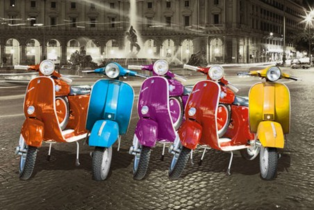 Multicoloured Vespas - Italian Iconography