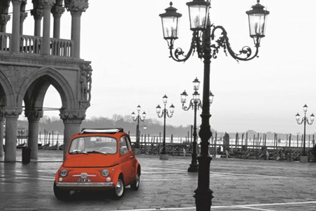Classic Red Fiat in Piazza San Marco - St Mark's Square, Venice