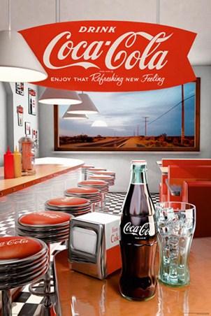 Retro Diner Vintage Coca Cola Poster Popartuk