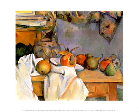 Ginger Pot with Pomegranate and Pears - Paul Cezanne