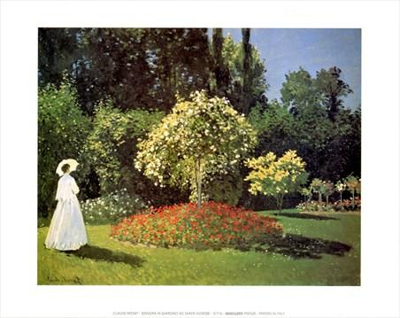 Framed Woman in the Garden at Sainte Adresse - Claude Monet