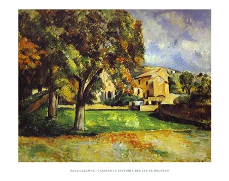 Framed Chestnut Trees and Farm at the Jas de Bouffan - Paul Cezanne